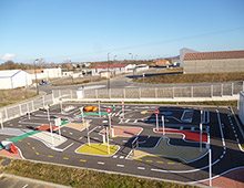 Marquage d'une piste cyclable pédagogique - Aménager votre école signaux signaux girod